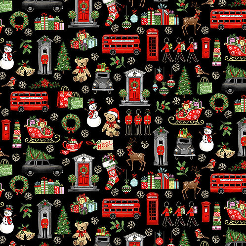 London Christmas by Makower UK Fabrics - London Icons on black