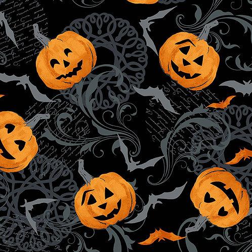 Midnight Haunt by Makower UK Fabrics -  Halloween Pumpkin on black