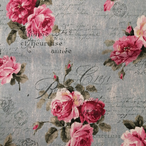 Sevenberry cotton linen  fabric - roses on teal