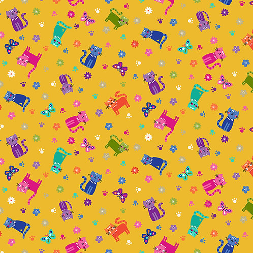 Katie's Cats by Makower UK Fabric - cats scattered yellow 2349Y