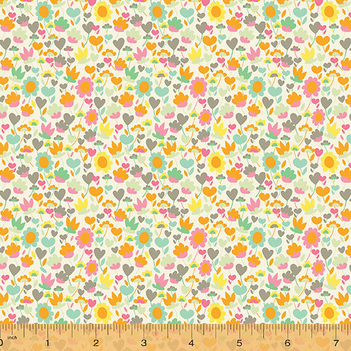 Solstice by Sally Kelly for Windham Fabric -Small Multi floral on Sand fabric