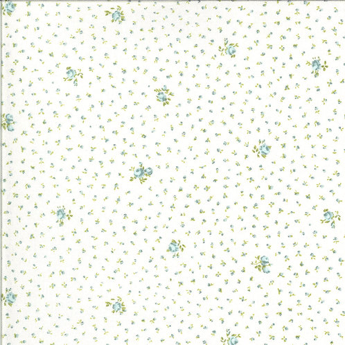 small blue floral fabric on white Dover