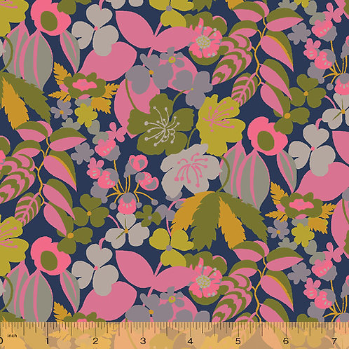 Solstice by Sally Kelly for Windham - blue canvas print fabric