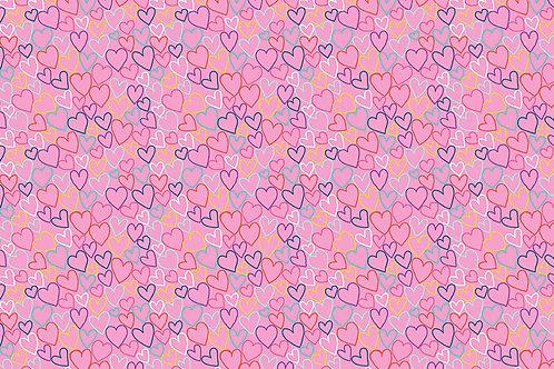 Daydreams Hearts Makower UK Fabric  Pink