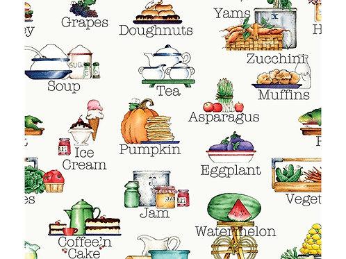 Hungry Animal Alphabet Riley Blake - Food Print on White