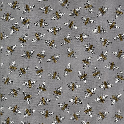 Bee Grateful by Deb Strain for Moda Fabrics - Bees on Pebble Grey