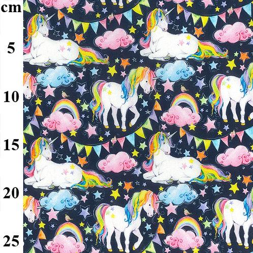 John Louden Fabric - Unicorns on Navy