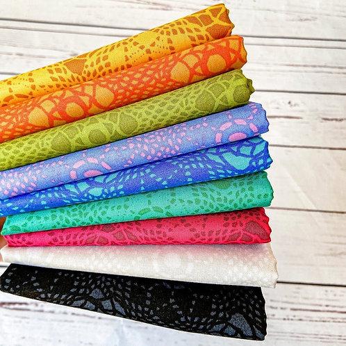 Alison Glass Sunprints Fabric 2021 - Crochet Fat Quarter Bundle Andover rainbow