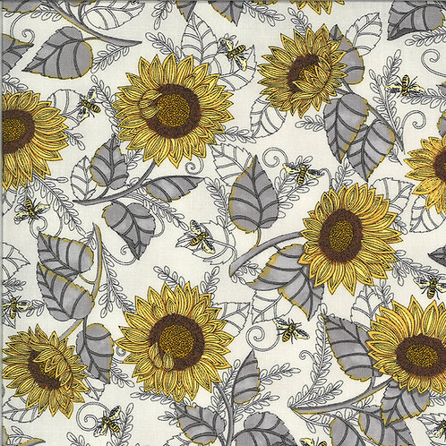 Bee Grateful by Deb Strain for Moda Fabrics - Pebble Grey Floral