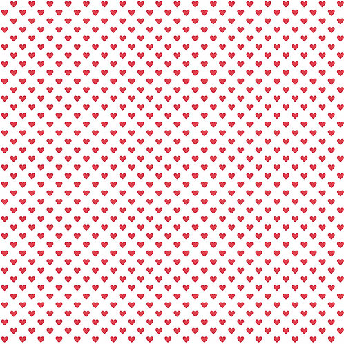 Makower Hearts Fabric - Red on White