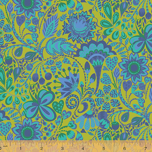 Solstice by Sally Kelly for Windham - Lime fabric