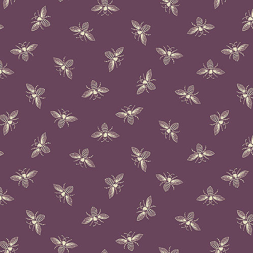 Renee Nanneman Andover Fabric French Chateau  and Bees - Ripe Plum