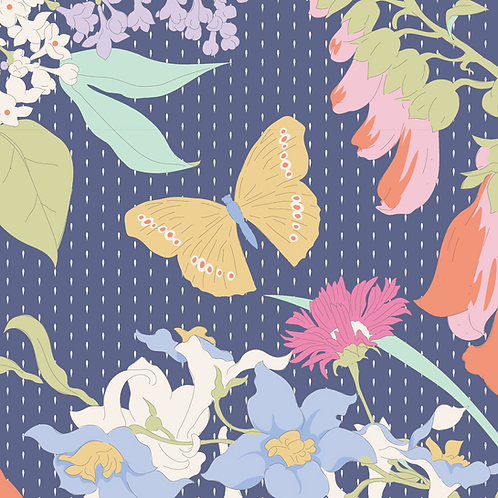 Tilda Garden Life - Hummingbird & Butterfly Floral Blue 318 patchwork quilting