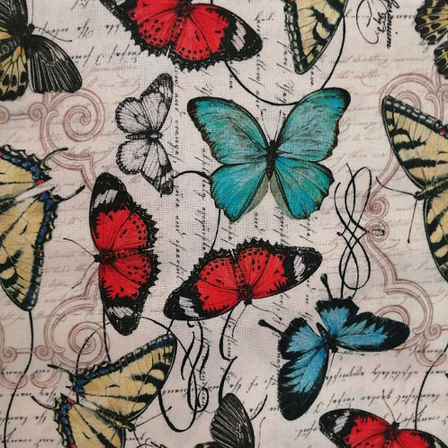 Poppies and Butterflies - Butterfly Script Fabric