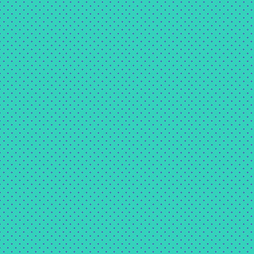 Makower Spot On Fabric - Blue Spot on Turquoise