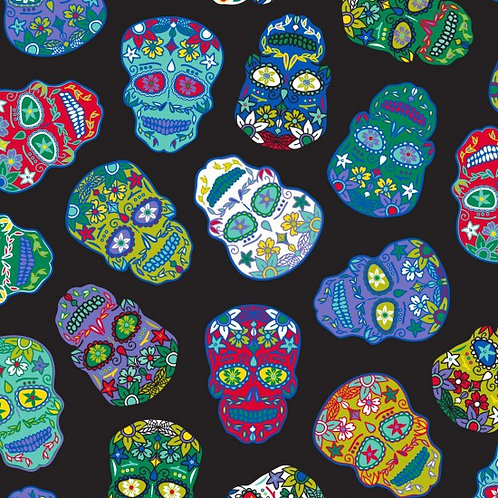 Nutex Fabrics - Sugar Skulls on black