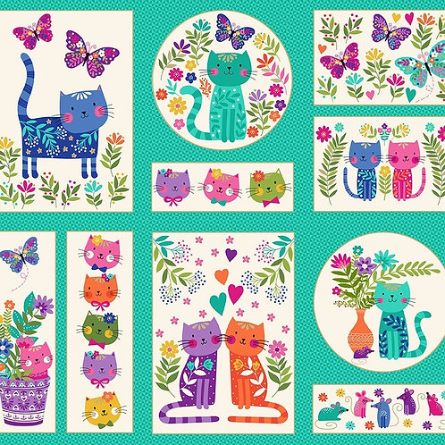 Katie's Cats by Makower UK Fabric - Panel approx 60cm x 112cm childrens quilt panel