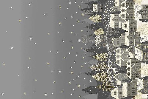 Scandi by Makower UK Fabrics - Double Border Houses Grey