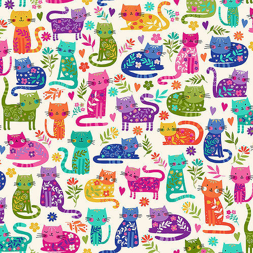 Katie's Cats by Makower UK Fabric - Cats Allover 2348Q