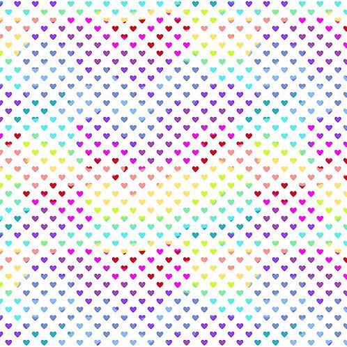 Makower Hearts Fabric - Rainbow