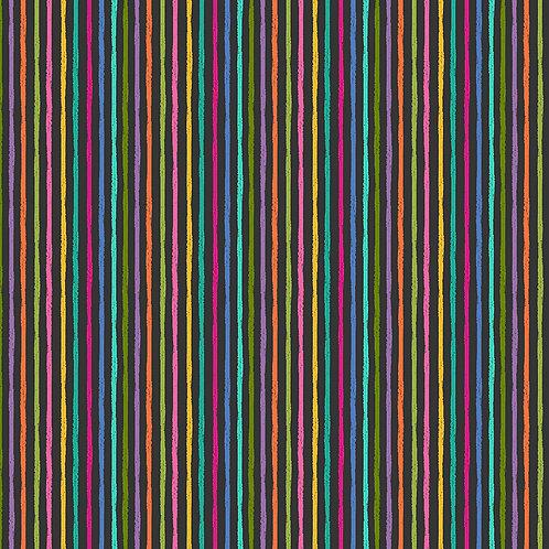 Katie's Cats by Makower UK Fabric - chalky stripe black 2347S