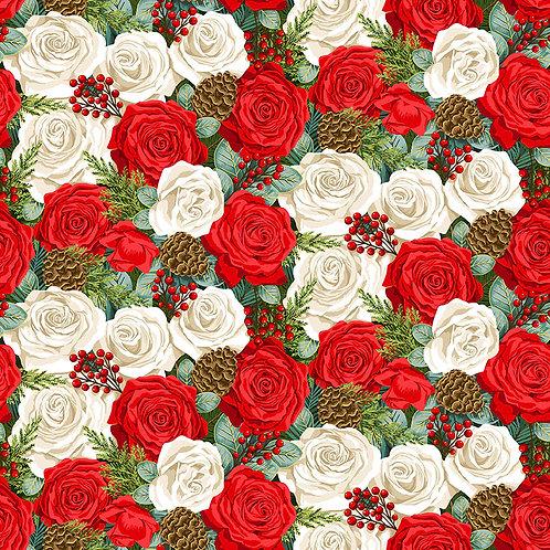 Classic Foliage Christmas by Makower UK Fabrics - Rose 2371
