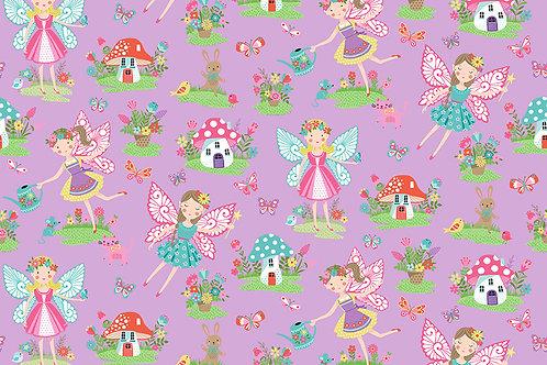 Daydreams Fairies Mushrooms Makower UK Lilac