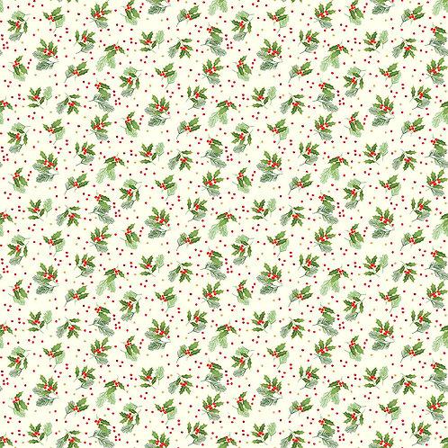 Classic Foliage Christmas by Makower UK Fabrics - Holly Spray 2377Q cream