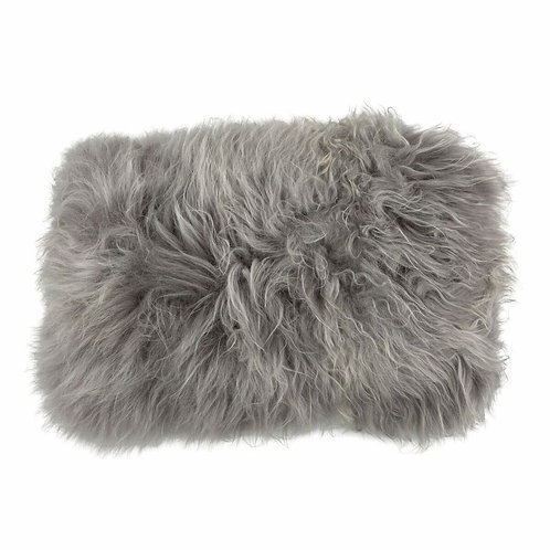 Coussin mouton rectangle gris