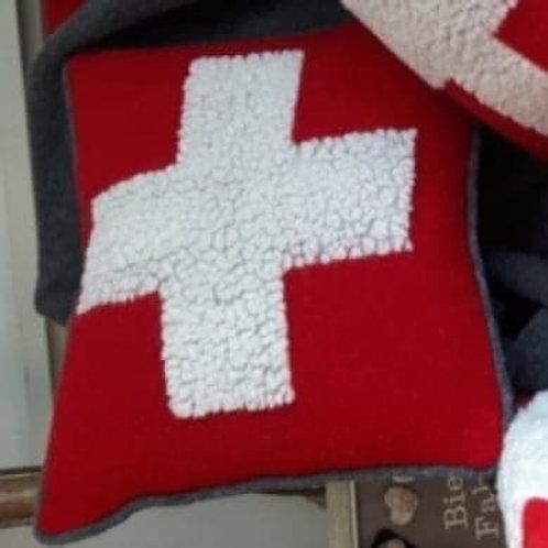 coussin laine croix suisse avec garnissage