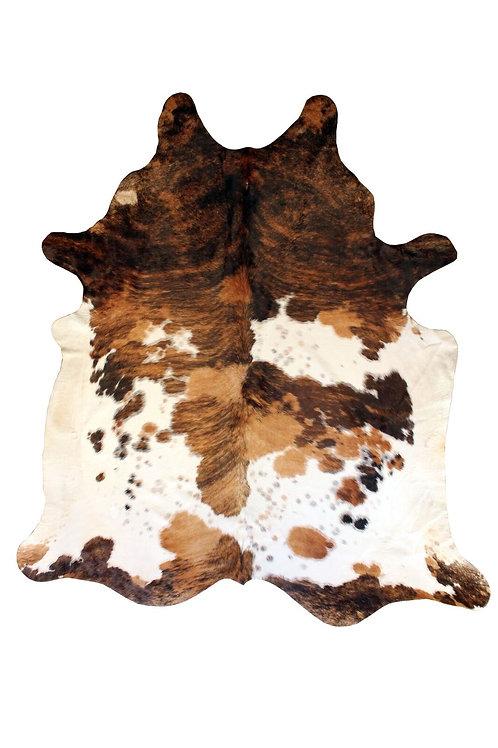 Peau vache marron et blanche