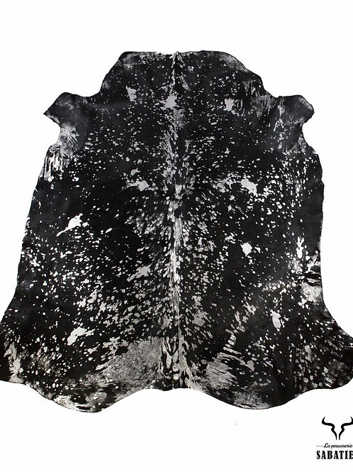 Peau vache noir argentée