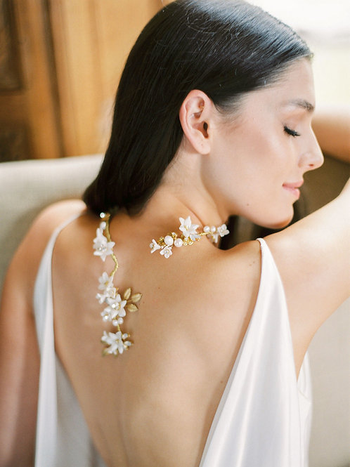 CECILE | Floral Porcelain Bridal Necklace