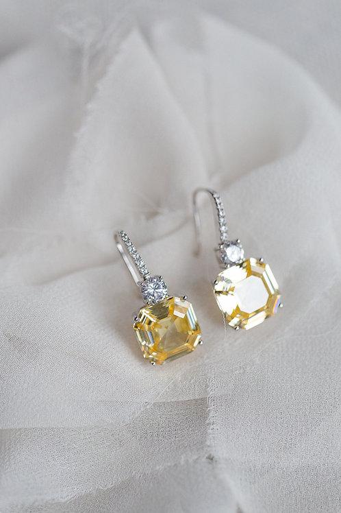 ASTOR - Canary Yellow Diamond Asscher Cut Earrings