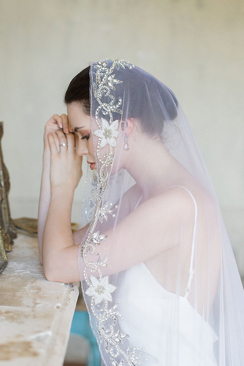 BY THE SEINE | Embroidered Silk Mantilla Veil