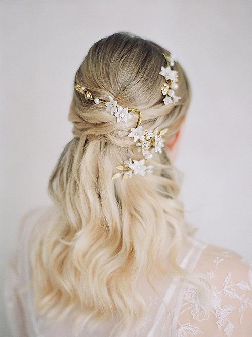CECILE | Floral Porcelain Bridal Headpiece