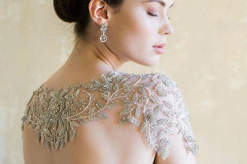 RENOIR   Crystal Rose Beaded Wedding Capelet