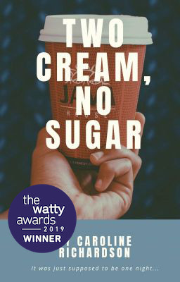 a hand holding out a coffee cup, with the title of the book Two Cream, No Sugar across it. The author's name below