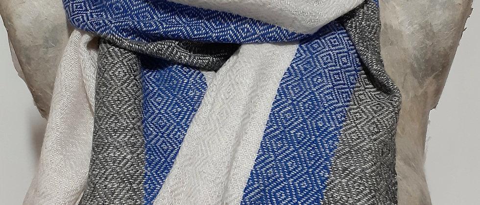 Étole banche avec bordures bleues et noires