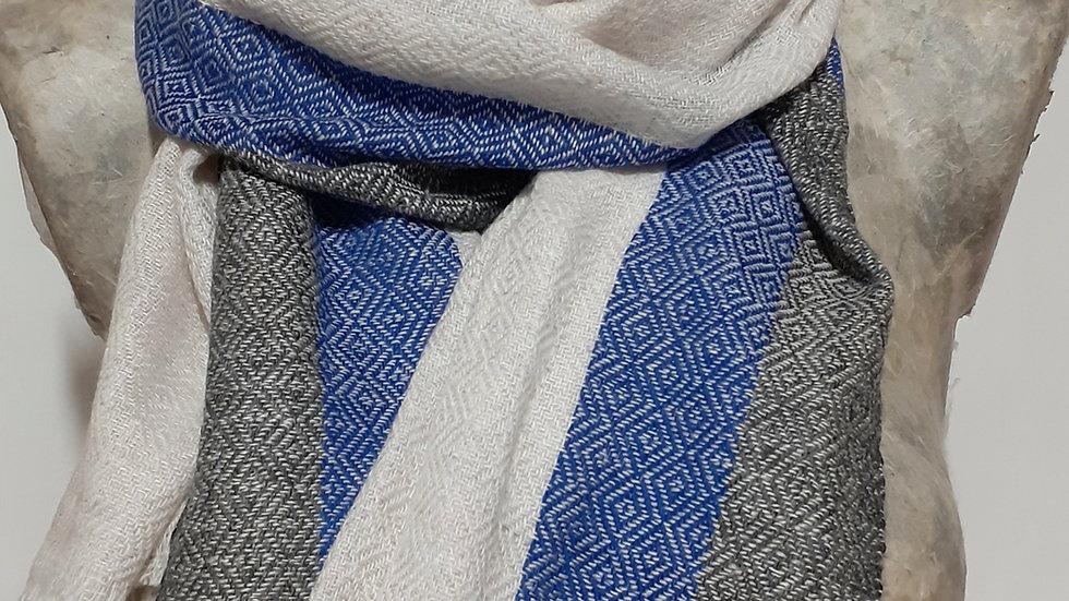 Blanc bordure bleu noir 90x200 CM