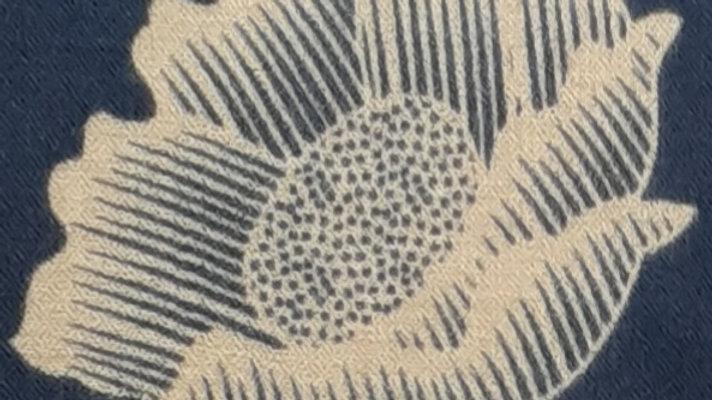 Bleu aux imprimés lotus 90x200 CM