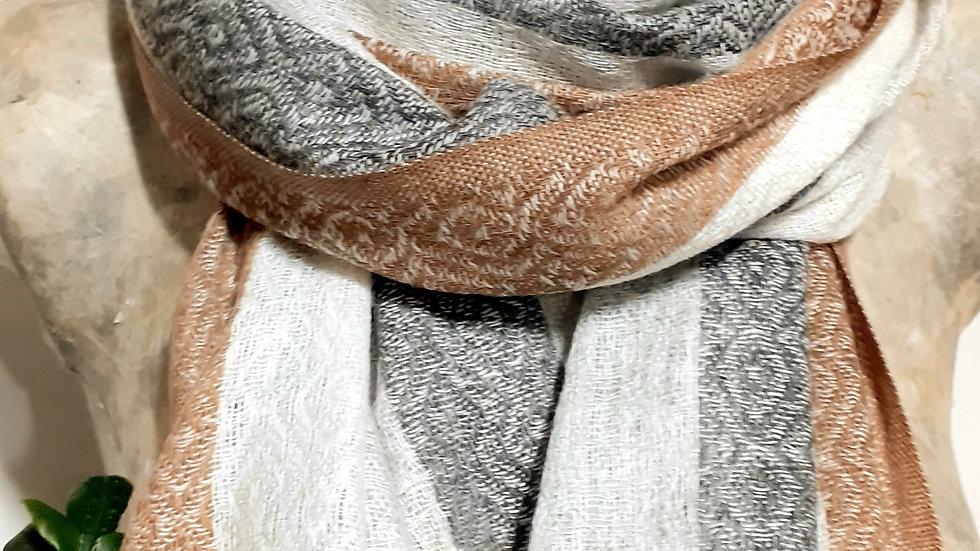 gris avec bordure au tissage texturé 90x200 CM