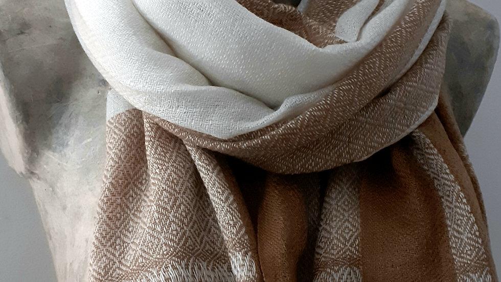 Camel blanc à carreaux et texturée 90x200 CM