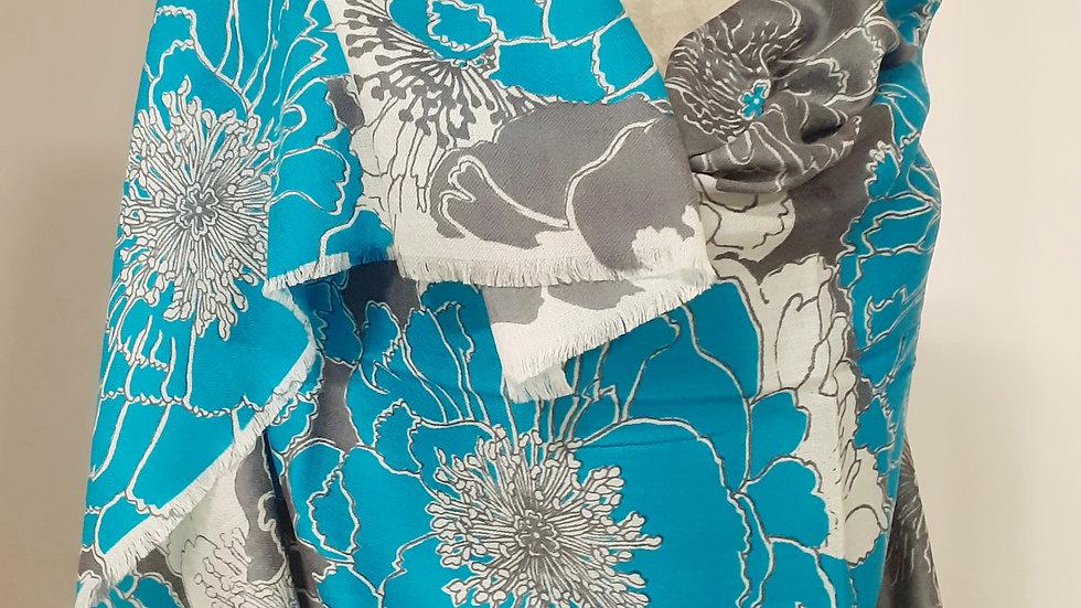 Grands coquelicots turquoise 90x200 CM