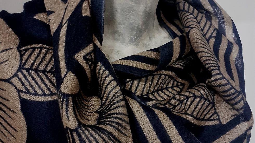 Bleu marine aux imprimés fleuris 90x200 CM