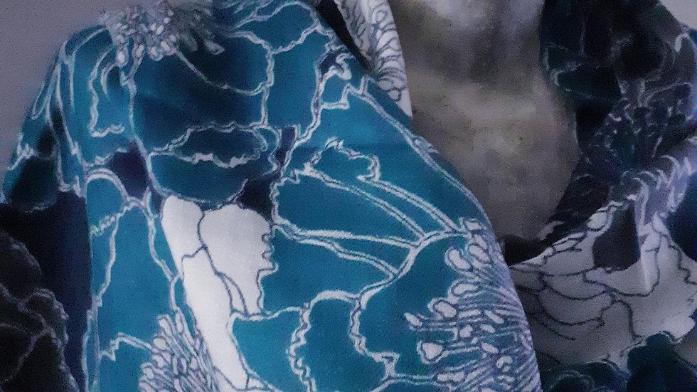 Grands coquelicots bleus 90x200 CM