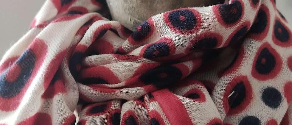 Étole avec motifs ronds rouge