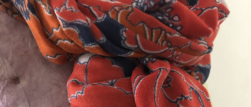 Grandes pivoines rouge orange bleu