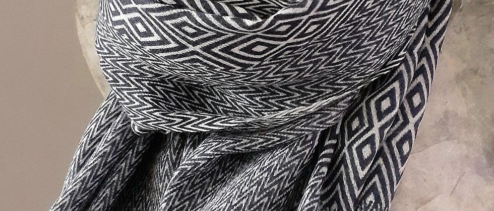 Étole bleue marine à imprimé géométrique