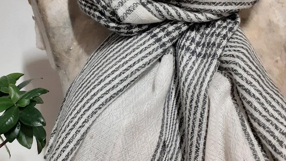 Gris blanc à grands carreaux 90x200 CM